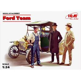 ICM-24007 Ford T 1913 Roadster w/3 figures (Ford Team)