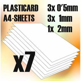 GSW-9110 ABS Plasticard A4 - Variety 7 sheets pack