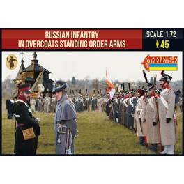 STR-219 Russian Infantry in Overcoats Standing Order Arms. Napoleonic Wars